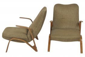 Pair Italian Modern Bentwood Lounge Chairs