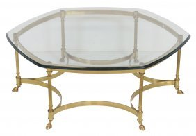 Contemporary Brass & Glass Cocktail Table