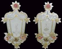 Pair 35 ANTIQUE VENETIAN GLASS MIRRORED SCONCES