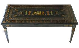 ITALIAN LACQUERED PAINT DECORATED COFFEE TABLE