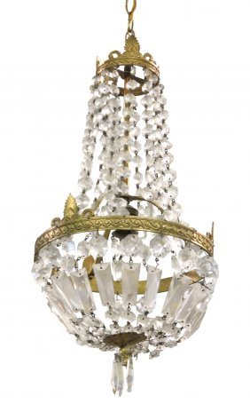 Petite French Empire Style Crystal Chandelier