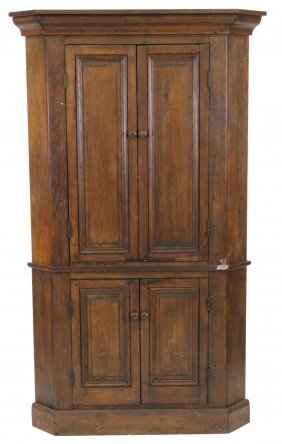 Handmade Raised Panel Pine Corner Cupboard