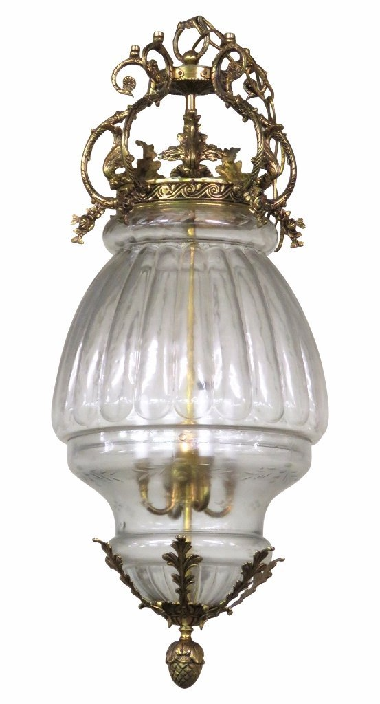 ITALIAN BRASS & ETCHED GLASS HANGING LANTERN CHANDELIER