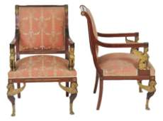 Pair ANTIQUE FRENCH EMPIRE STYLE BRONZE MOUNTED CHAIRS