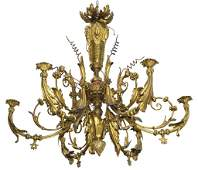 ANTIQUE NEOCLASSICAL STYLE CONVERTED GAS CHANDELIER