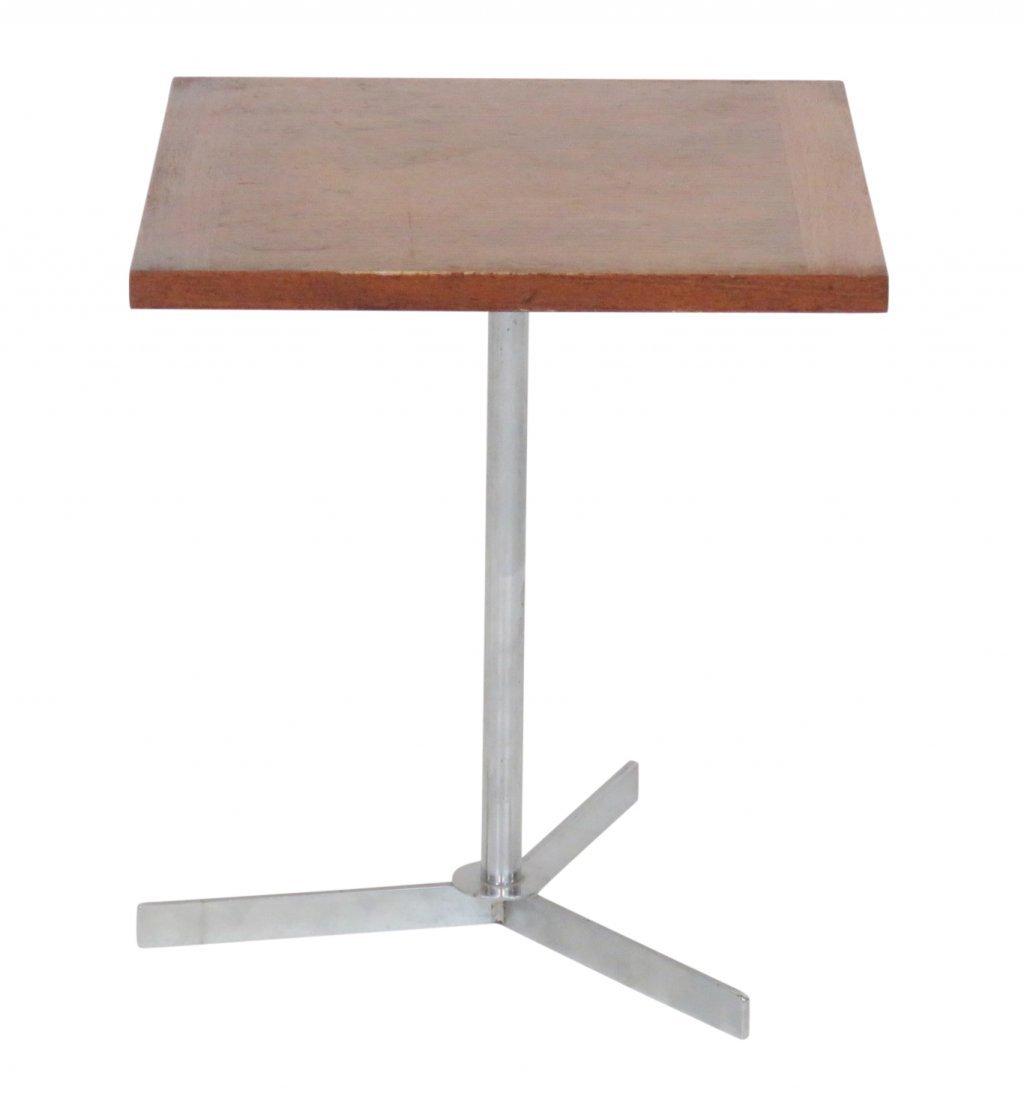 ARNE JACOBSEN CHROME & TEAK SIDE TABLE