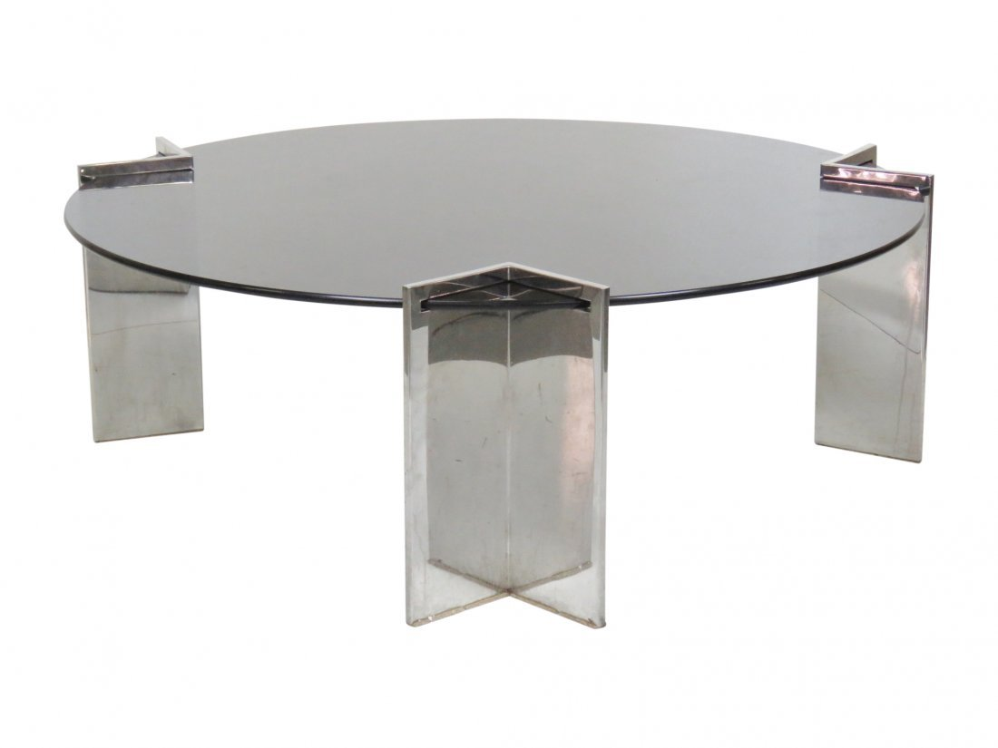 LEON ROSEN for PACE CHROME GLASSTOP COFFEE TABLE
