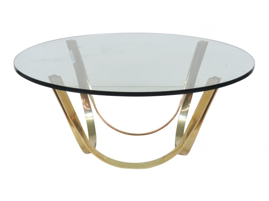 ROGER SPRUNGER for DUNBAR BRASS & GLASSTOP COFFEE TABLE