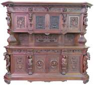 19th c CONTINENTAL FIGURAL CARVED SIDEBOARD