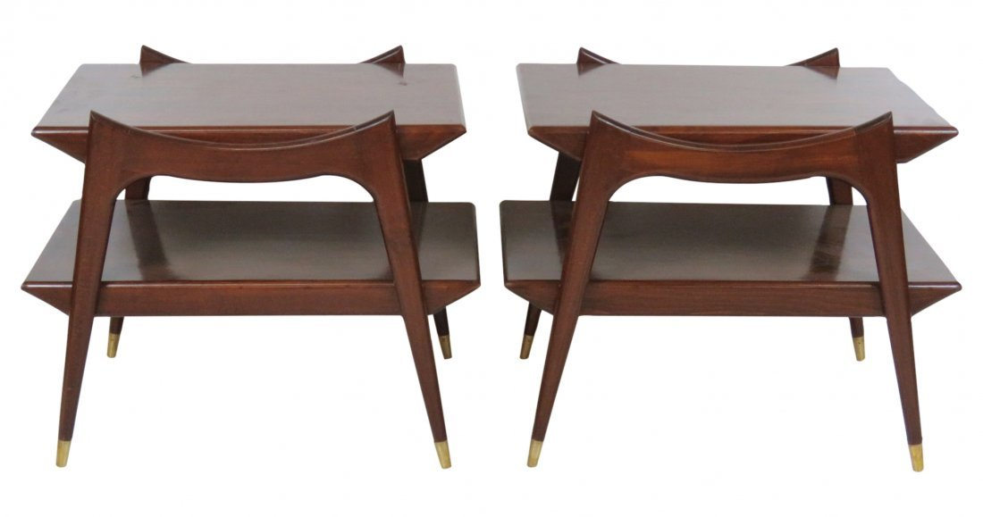 Pair MODERN DESIGN ROSEWOOD END TABLES