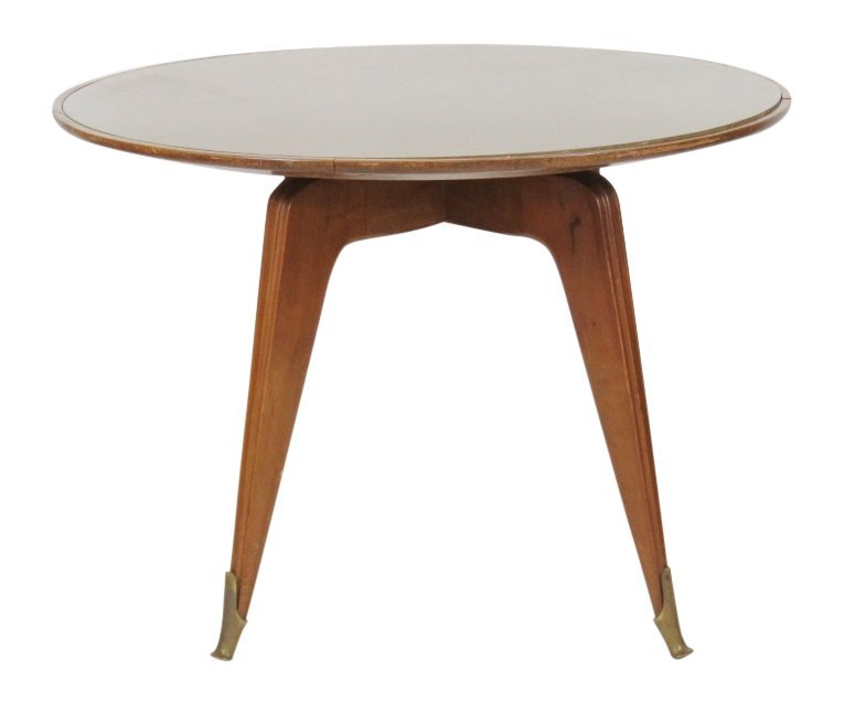 BUFFA STYLE ROSEWOOD GLASSTOP DINING TABLE