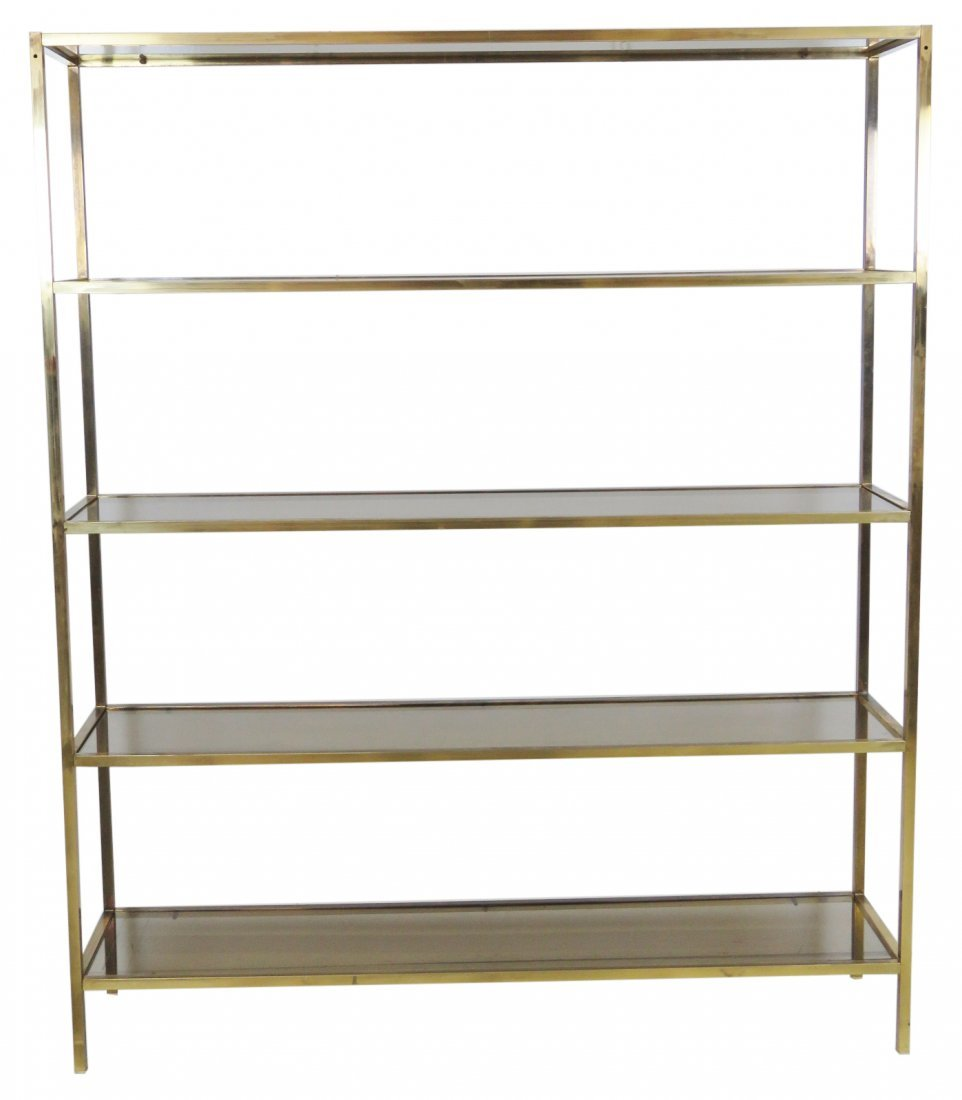 LARGE BRASS & GLASS ETAGERE
