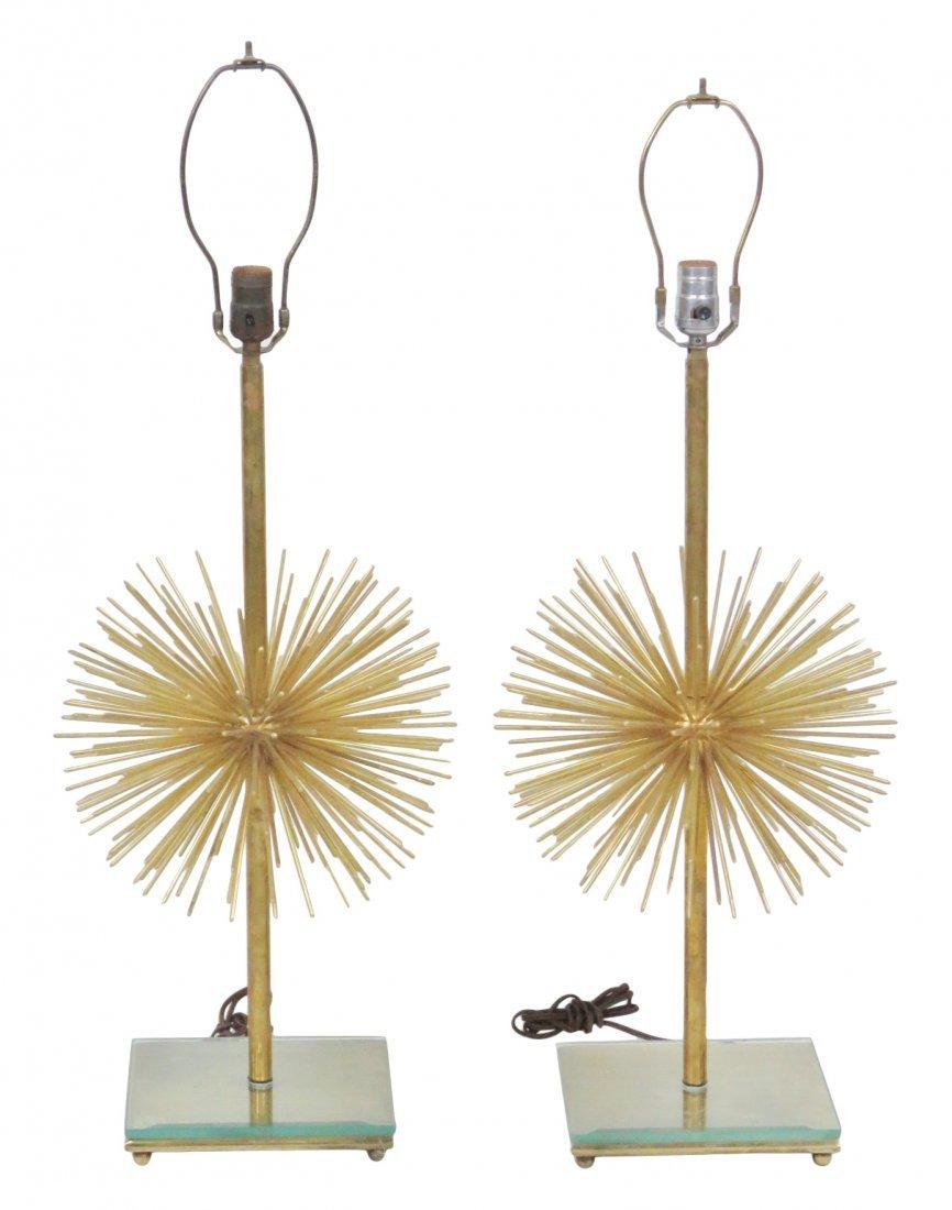 Pair MODERN DESIGN BRASS SPUTNIK TABLE LAMPS