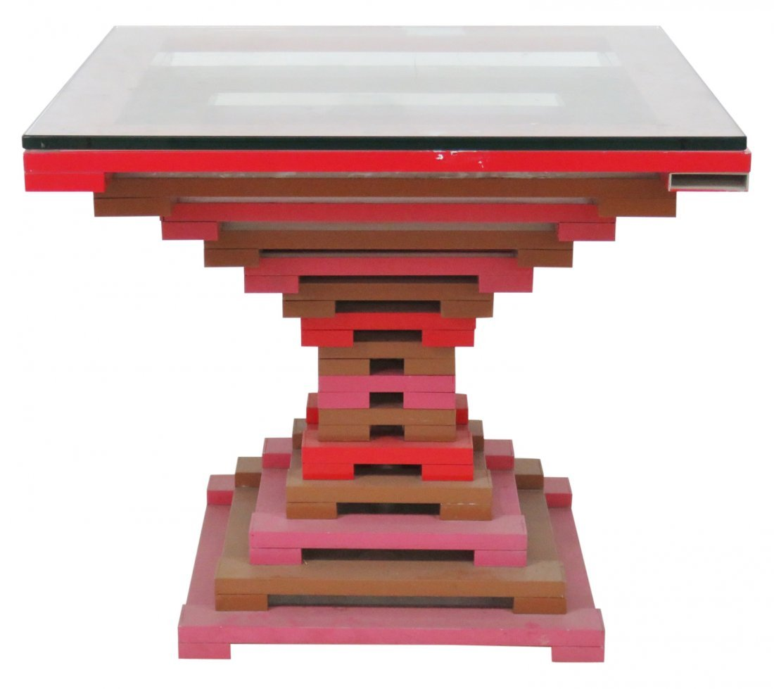 MODERN DESIGN STACKED PAINTED METAL GLASSTOP TABLE