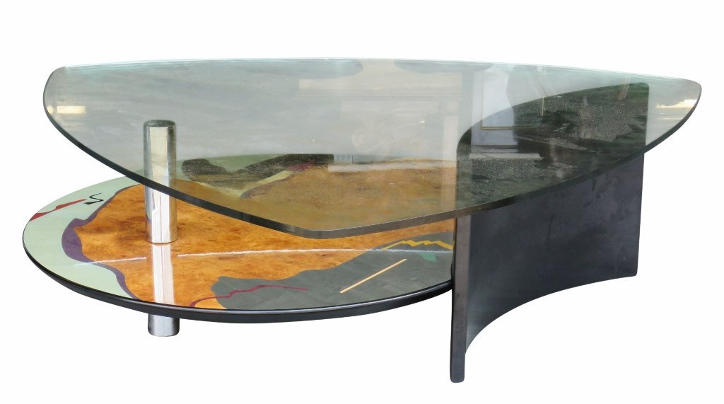 MEMPHIS STYLE MODERN DESIGN GLASSTOP COFFEE TABLE