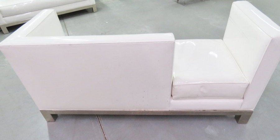 J.A. CASILLAS WHITE VINYL SOFA - 5