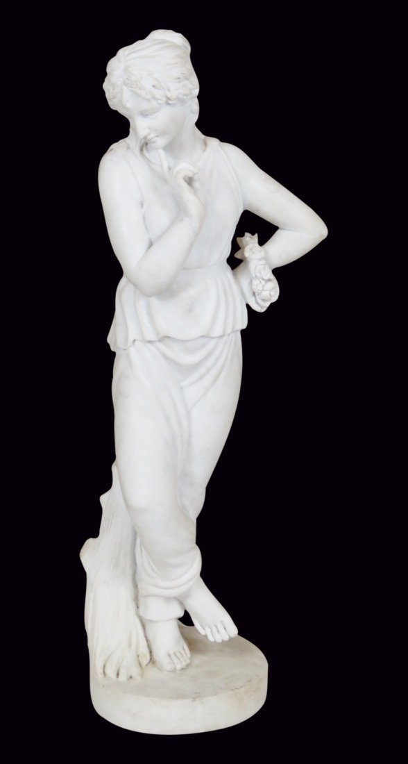 WHITE MARBLE STATUE OF ROMAN GODDESS