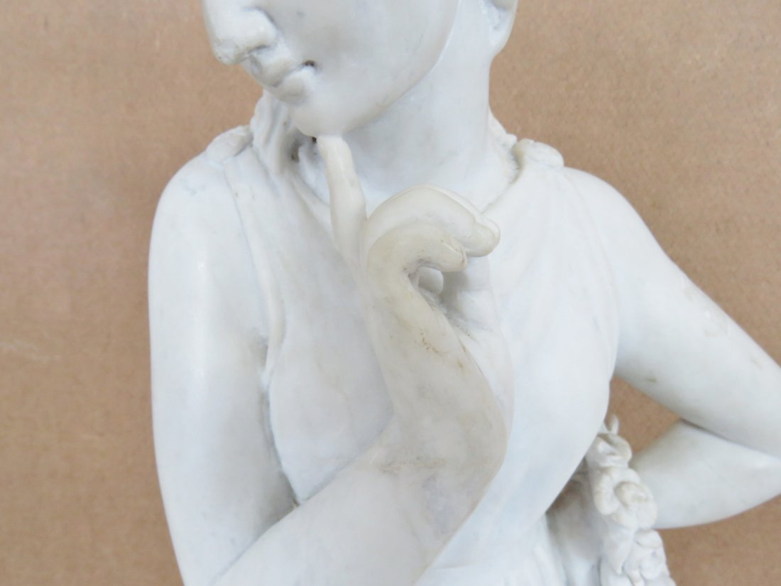 WHITE MARBLE STATUE OF ROMAN GODDESS - 4
