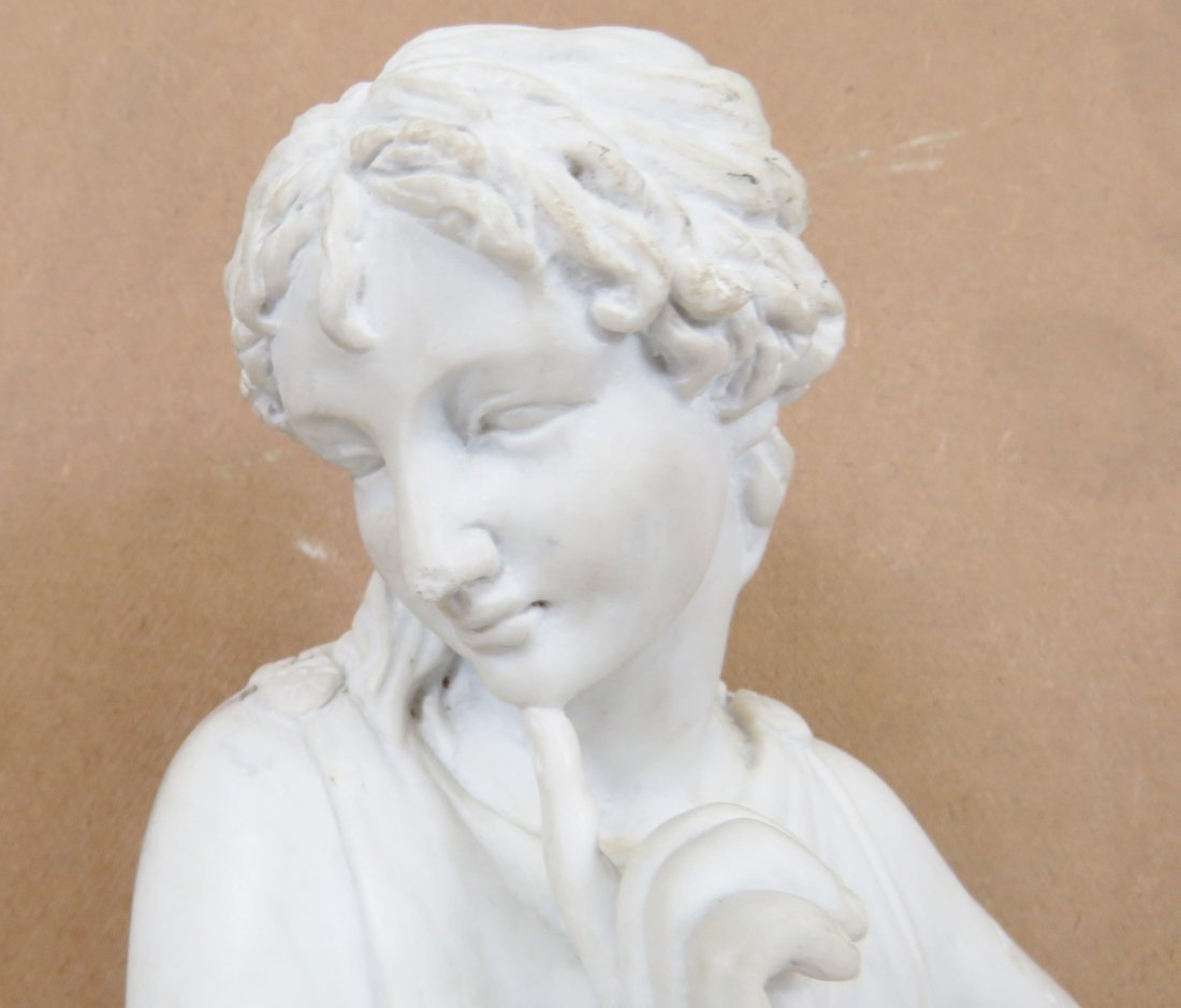 WHITE MARBLE STATUE OF ROMAN GODDESS - 5