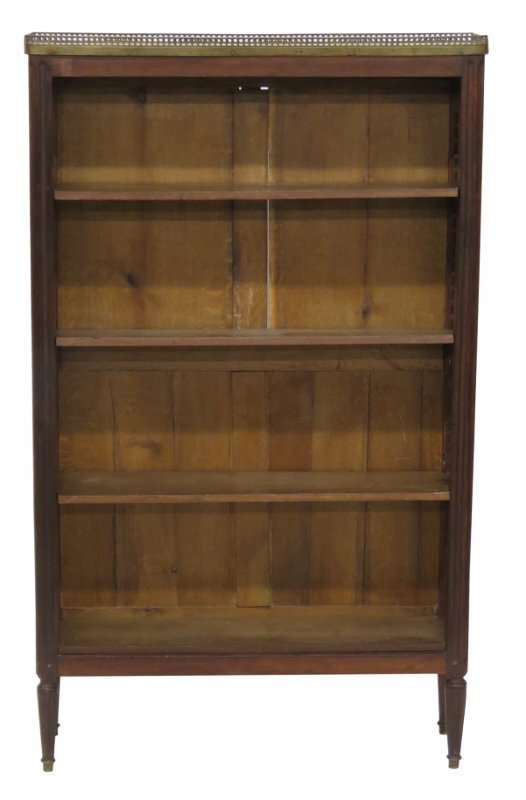 LATE 19th c. LOUIS XVI STYLE MARBLETOP HALL BOOKCASE