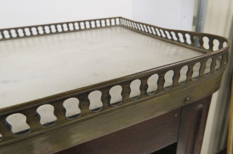 LATE 19th c. LOUIS XVI STYLE MARBLETOP HALL BOOKCASE - 3