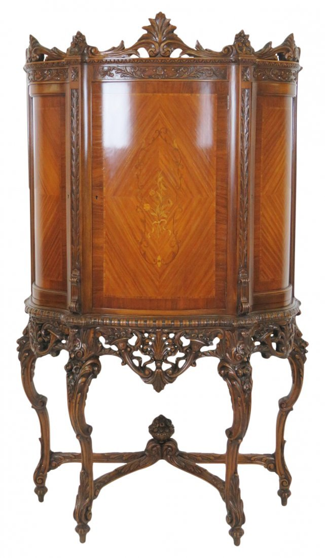 LOUIS XV STYLE INLAID CARVED CHINA CLOSET