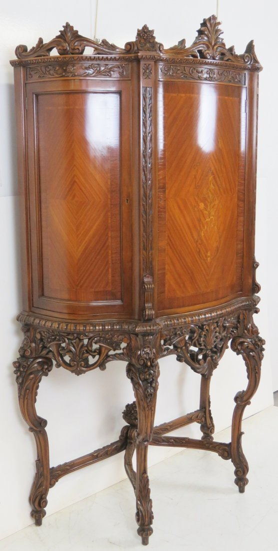 LOUIS XV STYLE INLAID CARVED CHINA CLOSET - 2