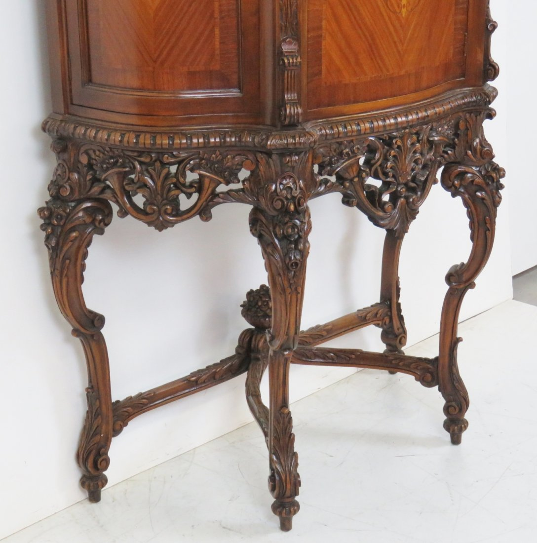 LOUIS XV STYLE INLAID CARVED CHINA CLOSET - 3