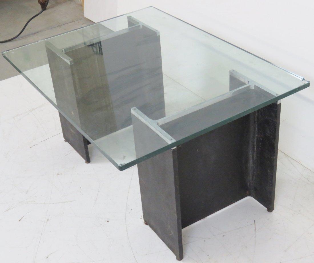 MODERN DESIGN METAL & CHROME BASE GLASS TOP COFFEE - 2