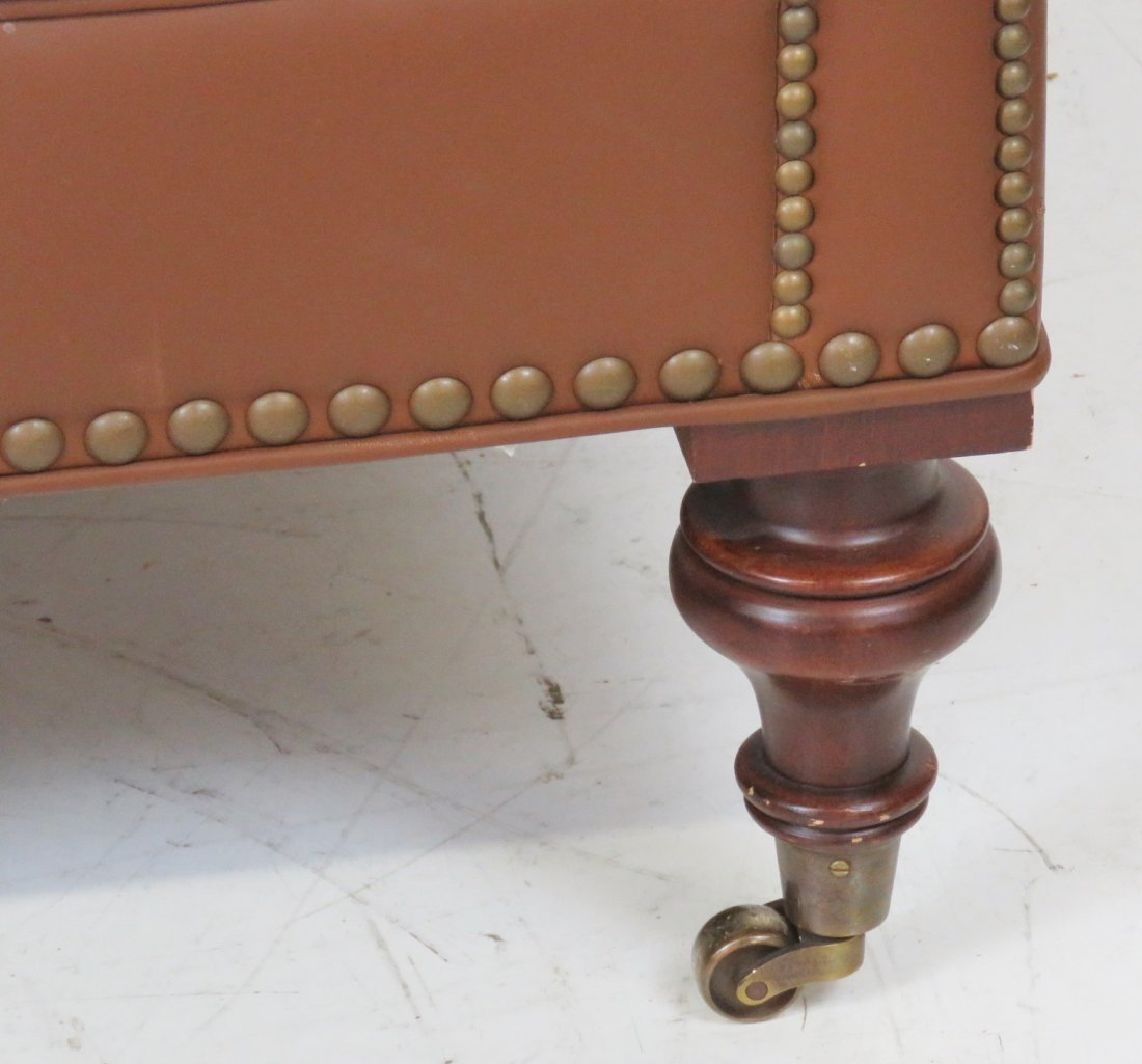 BROWN TUFTED LEATHER SOFA - 2