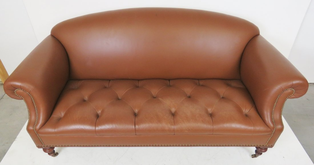 BROWN TUFTED LEATHER SOFA - 3