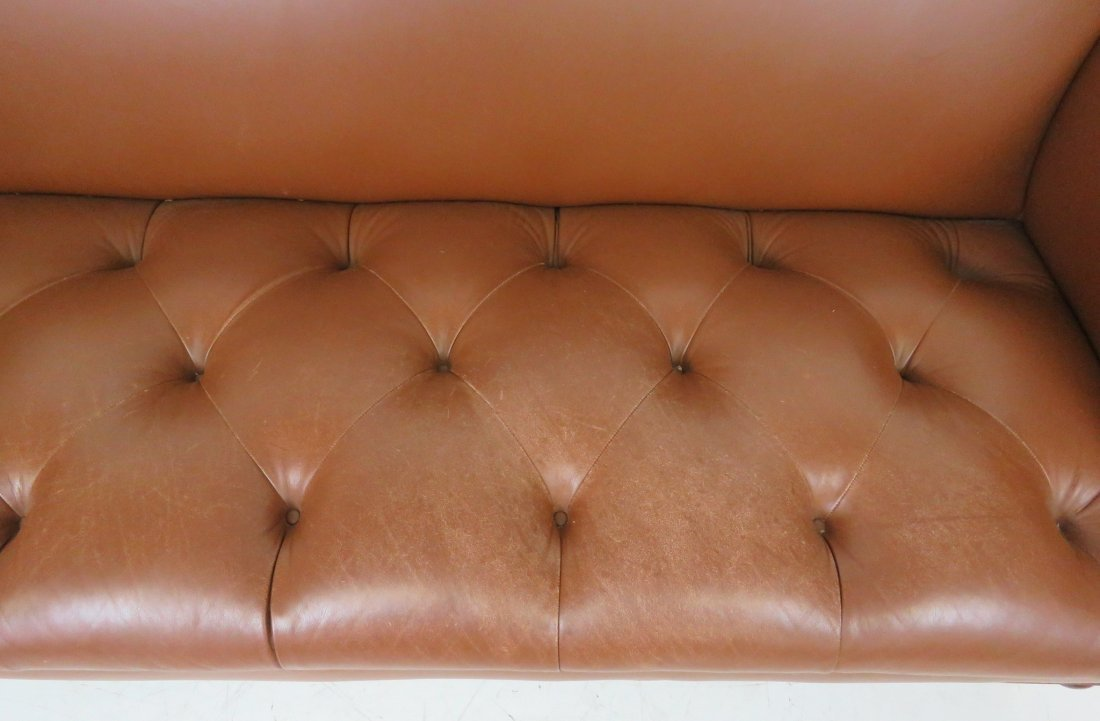 BROWN TUFTED LEATHER SOFA - 4