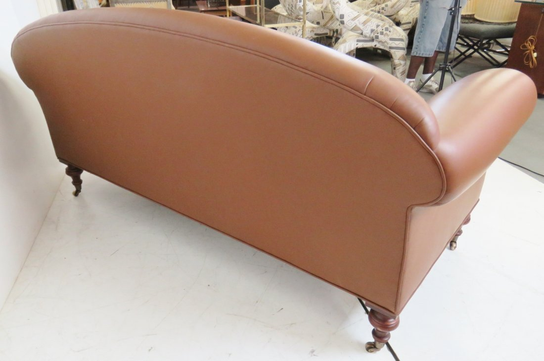 BROWN TUFTED LEATHER SOFA - 5