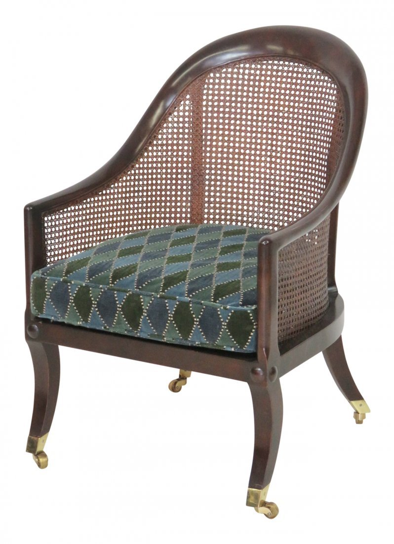 REGENCY STYLE MAHOGANY CANED LOUNGE CHAIR