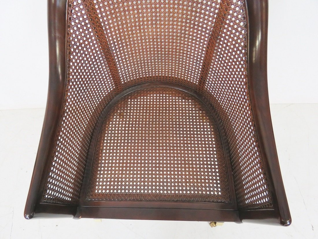 REGENCY STYLE MAHOGANY CANED LOUNGE CHAIR - 4