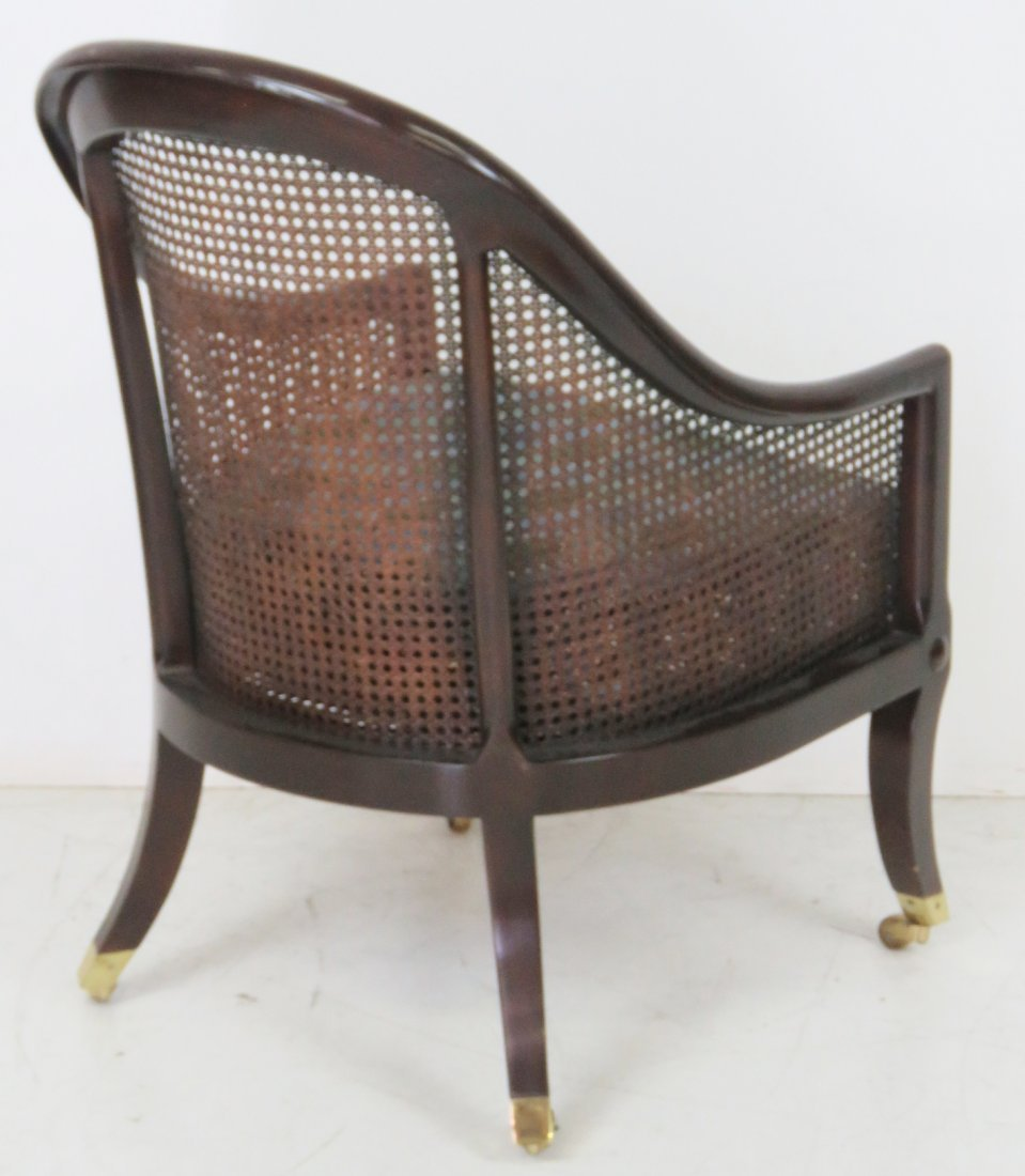 REGENCY STYLE MAHOGANY CANED LOUNGE CHAIR - 5