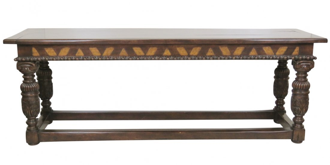 CUSTOM CARVED WALNUT CONSOLE TABLE