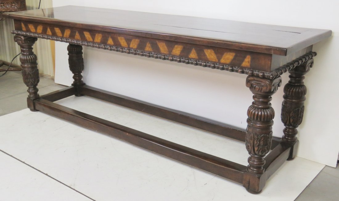 CUSTOM CARVED WALNUT CONSOLE TABLE - 2