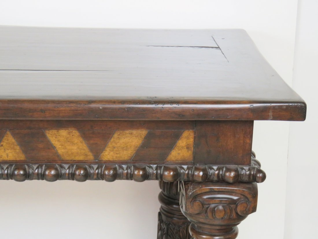 CUSTOM CARVED WALNUT CONSOLE TABLE - 4