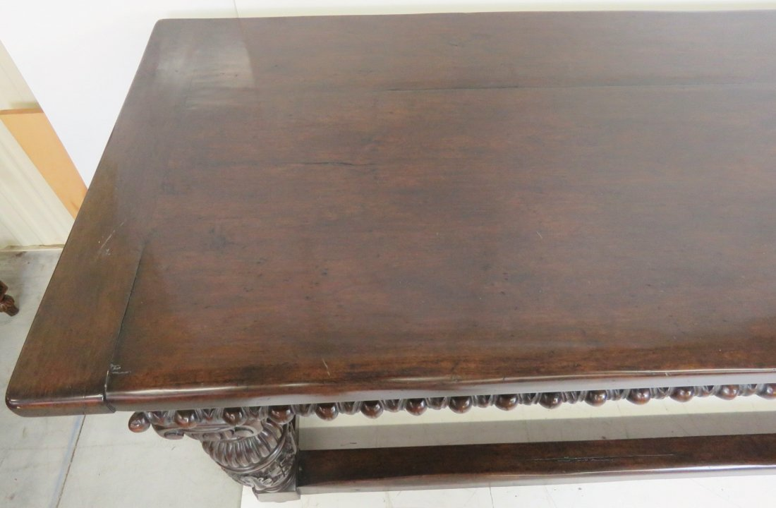 CUSTOM CARVED WALNUT CONSOLE TABLE - 6