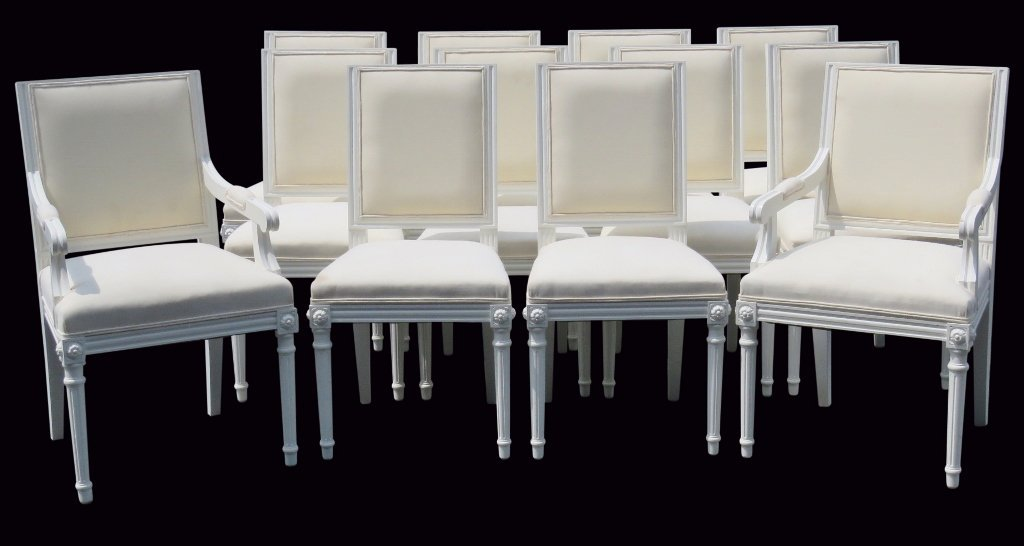 12 JANSEN STYLE PAINTED DINING CHAIRS