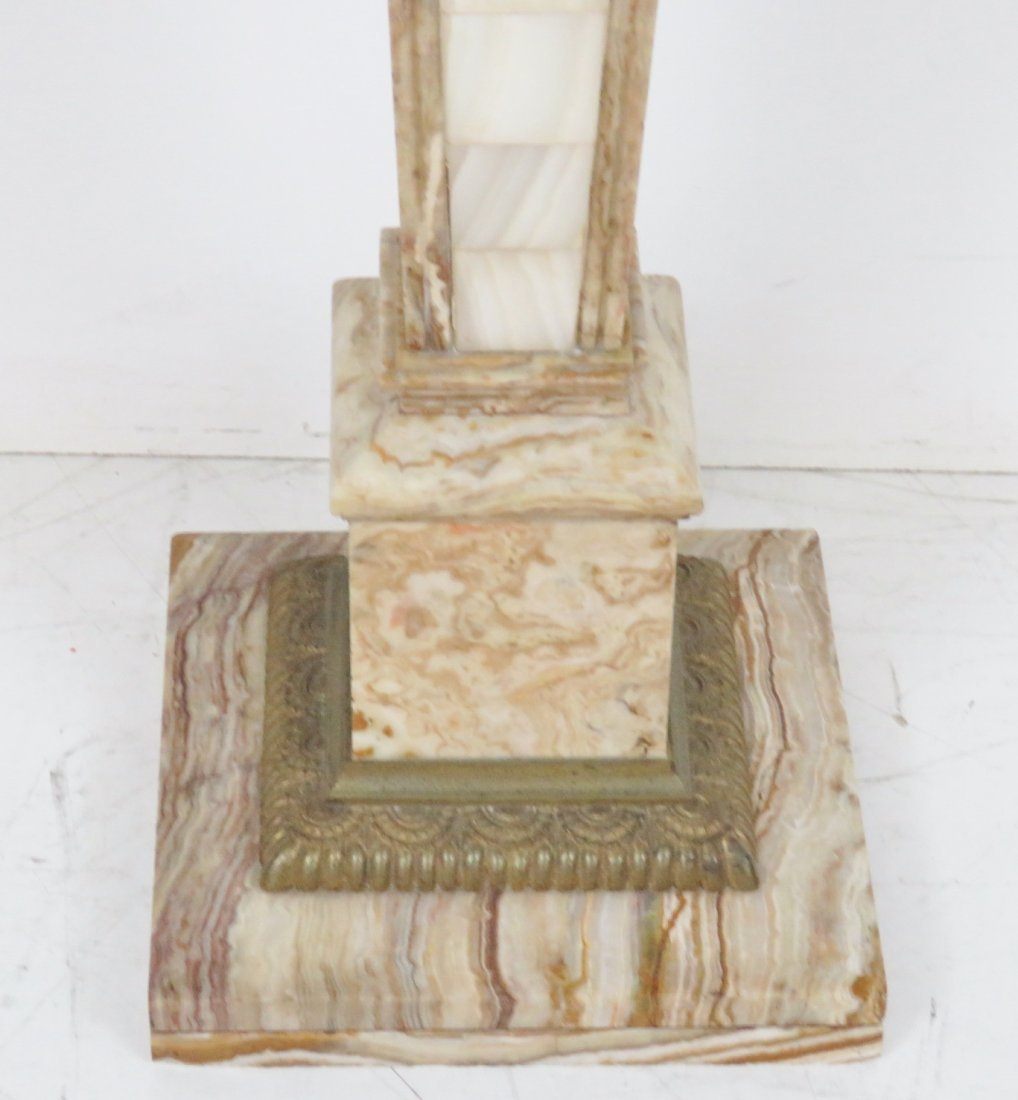 MARBLE PEDESTALS w/ BRASS MOUNTS - 3