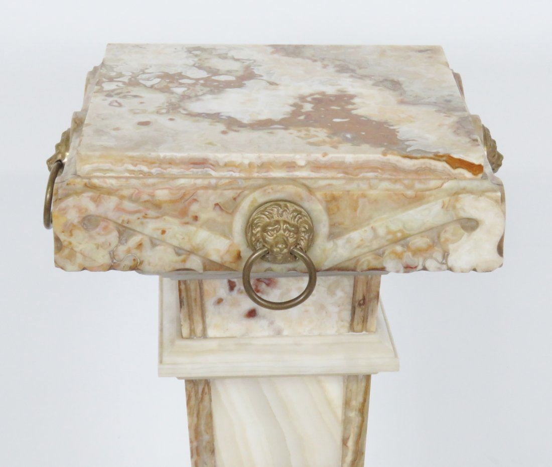 MARBLE PEDESTALS w/ BRASS MOUNTS - 4