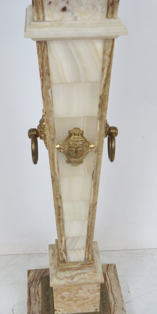 MARBLE PEDESTALS w/ BRASS MOUNTS - 6