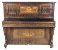 19th c. WALNUT SATIN INLAID UPRIGHT PIANO