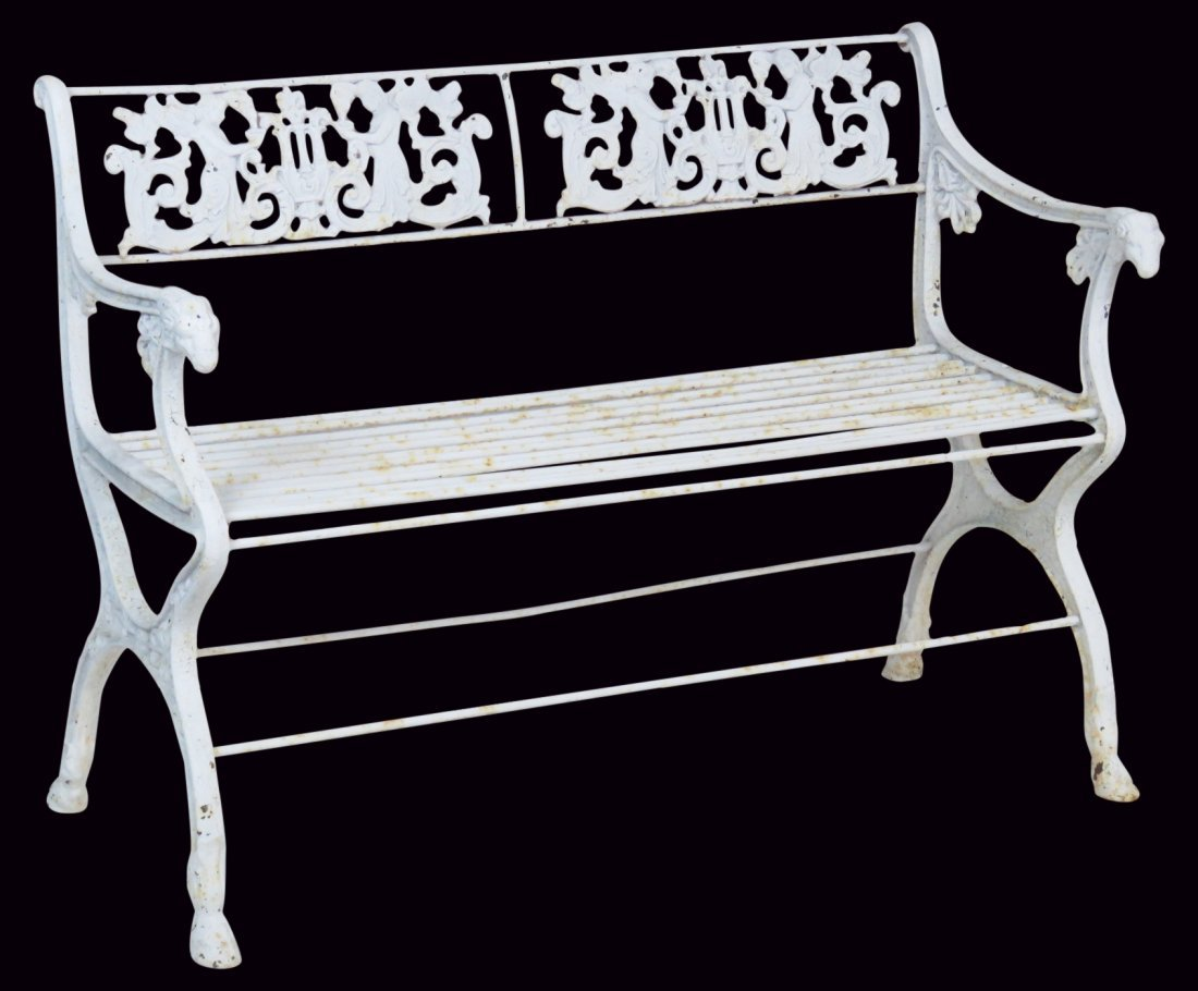 ANTQIUE VICTORIAN WHITE PAINTED IRON BENCH