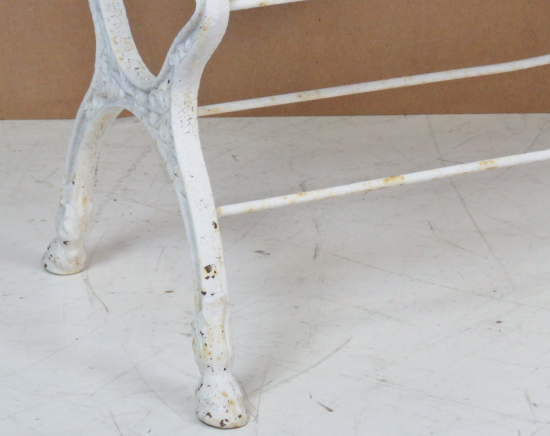 ANTQIUE VICTORIAN WHITE PAINTED IRON BENCH - 2