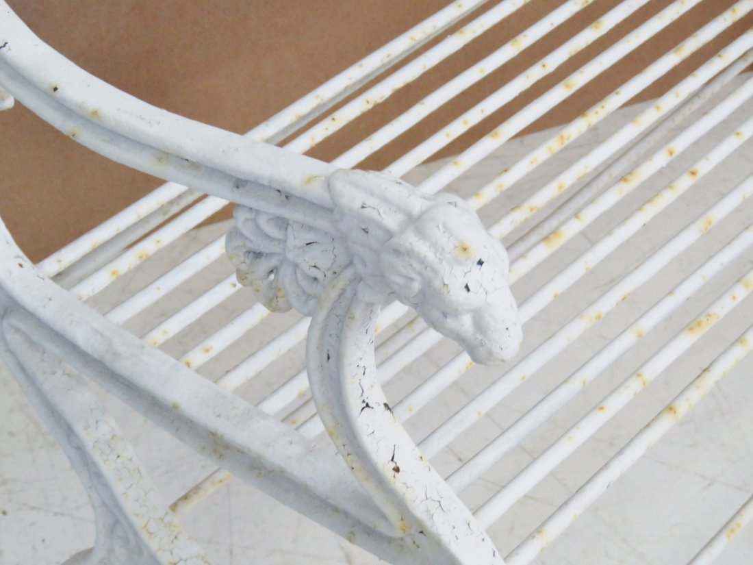 ANTQIUE VICTORIAN WHITE PAINTED IRON BENCH - 3