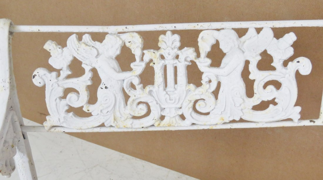 ANTQIUE VICTORIAN WHITE PAINTED IRON BENCH - 4