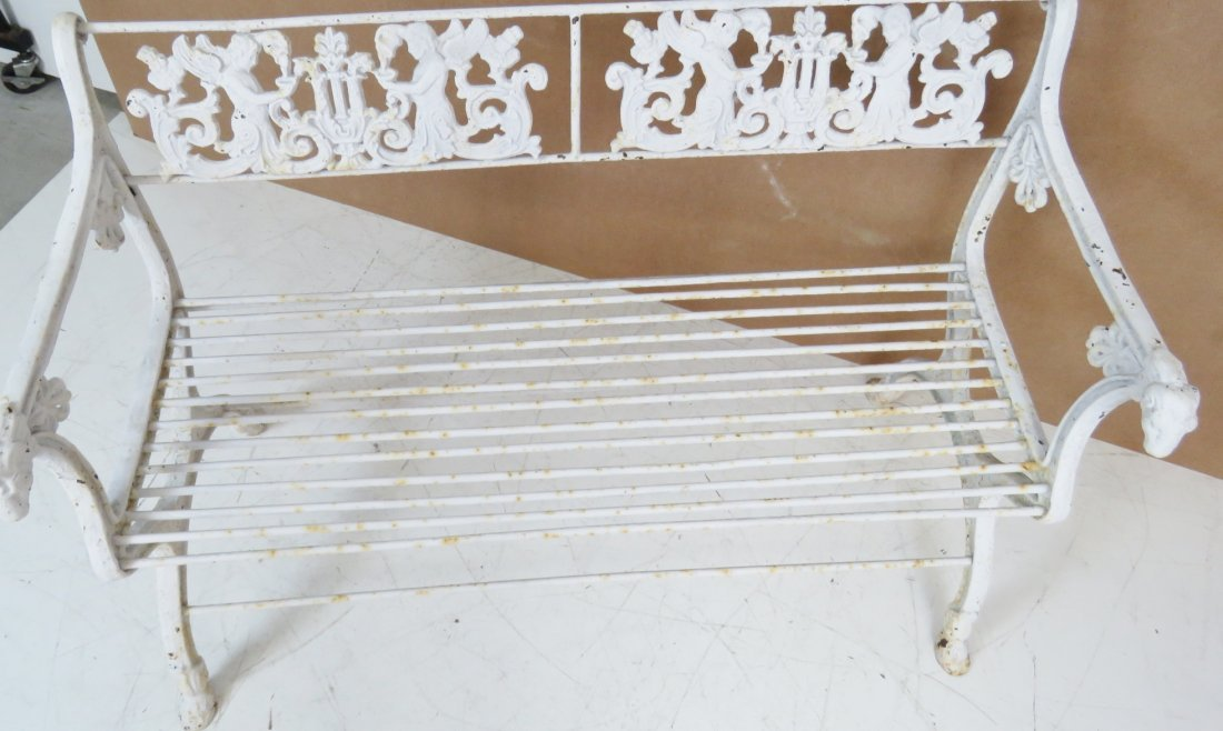 ANTQIUE VICTORIAN WHITE PAINTED IRON BENCH - 5
